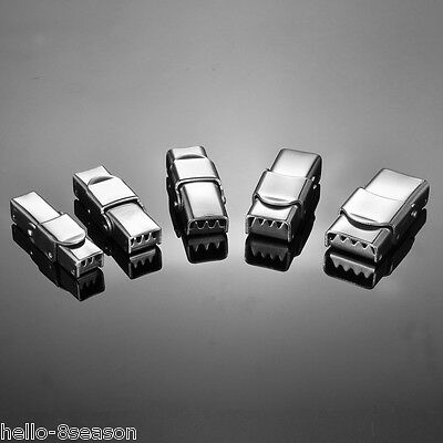 5PCs Stainless Steel Silver LockLogin Clasp For 25mm Leather Bracelet