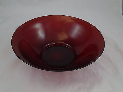 "Anchor Hocking Ruby Red Glass 11 1/2"" Serving Bowl"