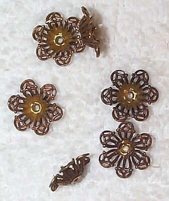 Vintage 1940's Fine Filigree Flower Brass Settings Findings Rare 8 Pieces