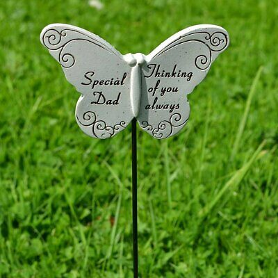 Thinking of Special Dad Butterfly Memorial Tribute Stick Graveside Plaque