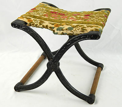 Vintage Cast Iron Folding Stool Victorian Upholstery Buggy / Carriage Step