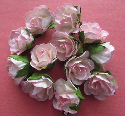 20 Paper Flowers Pink with Green Leaf 25mm - Card Making & Scrapbooking NEW