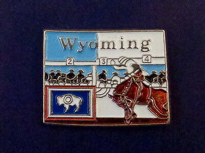 Wyoming State Shaped Map Lapel Pin WY flag Cowboy