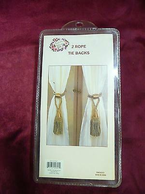 NOS Victorian Classics 2 rope tie backs RN# 102223 NIP curtains blind decor home