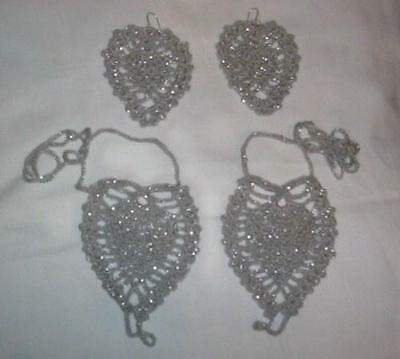 Hand Crochet Silver Glitter Pineapple Barefoot Sandals & Earrings Ready 2 Ship