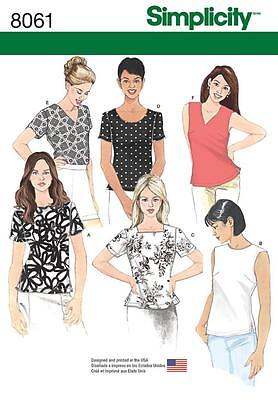 Simplicity Sewing Pattern Misses' Pullover Tops  Size 8 - 24 8061 Half Price