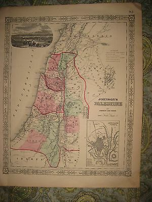 Fine Large Antique 1864 Palestine Israel Holy Land Jerusalem Johnson Handclr Map