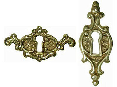 VICTORIAN POLISHED CAST BRASS KEYHOLE COVER, Pkg/2, Mix or Match