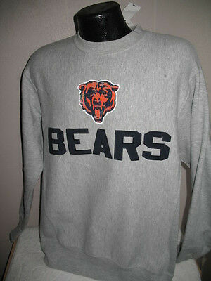 NFL Chicago Bears Football Crew Neck Sweatshirt Mens Sizes Nwt Embroidered Gray