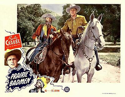 BUSTER CRABBE And FUZZY ST JOHN On Horses In PRAIRIE BADMEN 11x14 LC Print 1946