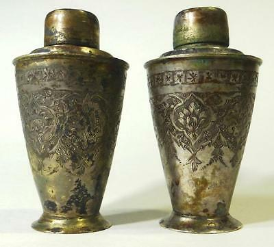 """Antique Silver Plate Salt Pepper Shakers 3"""" Tall Iranian Russian Needs Cleaning"""