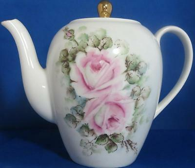 White Pink Roses Teapot Schonwald Germany Vintage 1950-1968 Tall Gold Trim