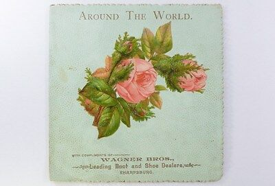 Views AROUND THE WORLD Booklet 1890s BOOT SHOES Wagner Bros Sharpsburg Maryland