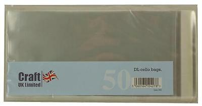50 Cello Bags Self Seal Size DL for Card Making NEW