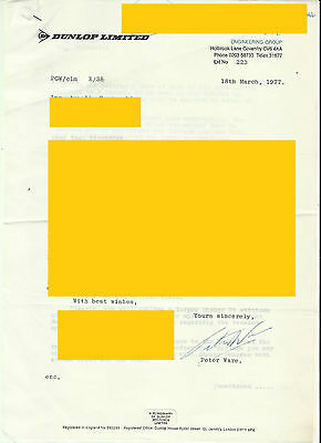 Peter Ware (Rootes Group , Hillman, Humber, Sunbeam)  Dunlop : letter and signed