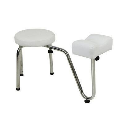 White Salon Pedicure Stool With Footrest Chair Beauty Therapist Nail Treatement