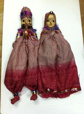 Puppets Marionette Dolls Four Pairs India Hand Carved Wood Rajasthan Kathputli