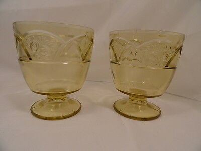 Two Amber Rosemary Depression Glass Sugar Bowls Mint Condition