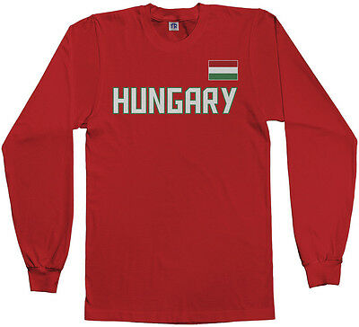 Threadrock Men's Hungary National Team Long Sleeve T-shirt Hungarian Soccer