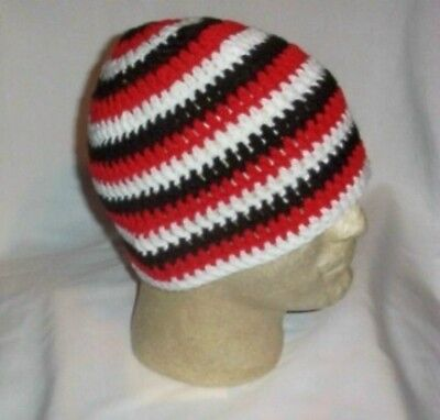 Hand Crochet Triple Goddess Beanie - Unisex - White - Red - Black Made to Order