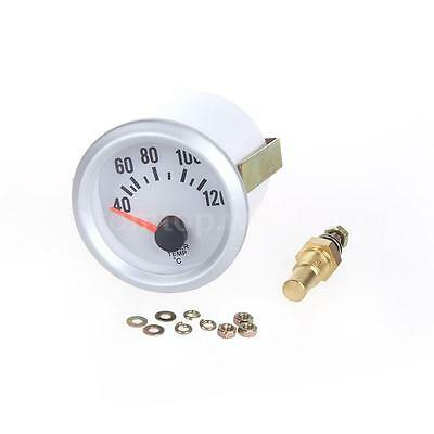 """Blue LED 2"""" 52mm Auto Car Water Temp Gauge Meter with Sensor 40~120℃ Silver W1P3"""