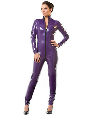 Honour Women's Sexy Catsuit in PVC Purple with High Neck & Longsleeves