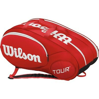 Wilson Mini Tour Racquet Bag, Red (Holds up to 6 Racquets)