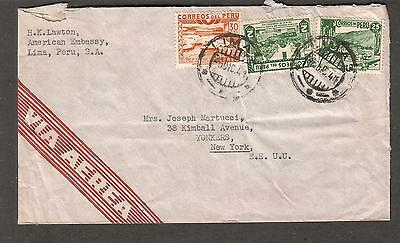 c WWII Dec 5 1941 cover H K Lawton American Embassy Lima Peru to Yonkers NY