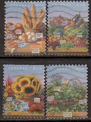 Scott #4912-15 Used Set of 4, Farmers Market Stamps