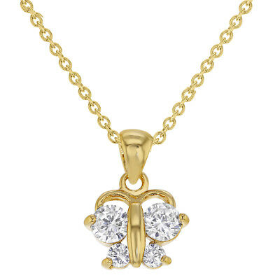 18k Gold Plated Clear CZ Butterfly Toddler Girls Kids Pendant Necklace 16""