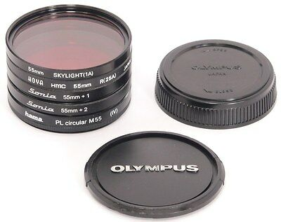 Olympus 55mm Front Lens Cap + Set of FIVE 55mm Filters + Zuiko Rear Lens Cap