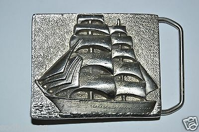 Vintage Solid Nautical Pirate Ship Sailing Ocean 3D Belt Buckle RARE