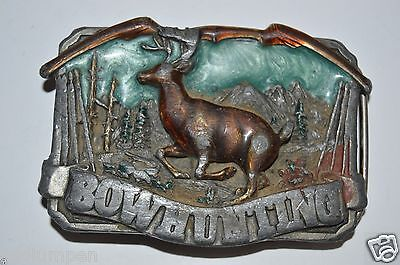 Vintage Bow Hunting Deer Aged Color Inlaid Solid Pewter Belt Buckle RARE