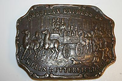 Vintage Large American Express Heavy Brass Belt Buckle Excellent Condition