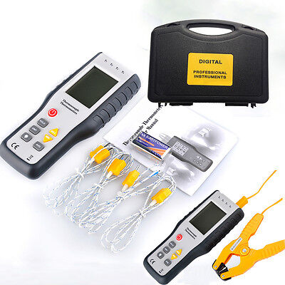 4-Channel K-Type Digital Thermocouple Thermometers Sensor LCD Probe+pipe clamp