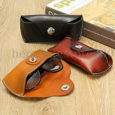 Vintage Handcrafted Soft Genuine Leather Sunglasses Glasses Eyewear Case Box Bag