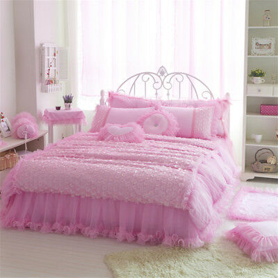 Pink Lace Cotton Duvet Quilt Doona Cover Set Queen/King Size Bed Pillowcases New