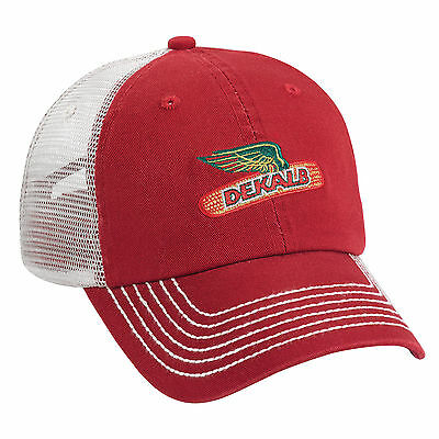 DEKALB SEED *WASHED RED CLOTH & STONE MESH * Logo CAP HAT *BRAND NEW* DS44