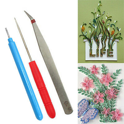 3pcs Set Hand Craft Paper Quilling Slotted Template Needle DIY Scrapbooking New