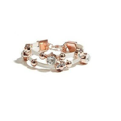New-Guess Rose Gold Tone,White Faux Leather,Studs,Rhinestone, Cuff,Bracelet