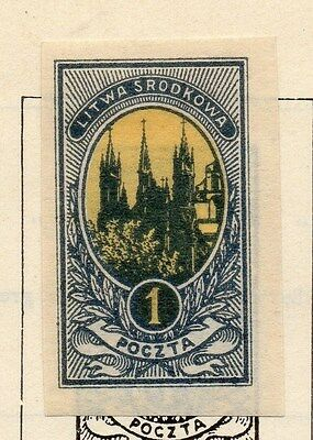 Lithuania (Central) 1921 Early Issue Fine Mint Hinged 1m. Imperf 074656