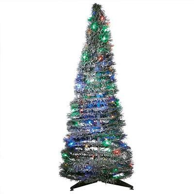 Lighted LED Spiral Christmas Tree w/Multi-Color Lights ~ Folds Down Flat!