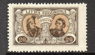 Lithuania (Central) 1920 Early Issue Fine Mint Hinged 20m. 074777