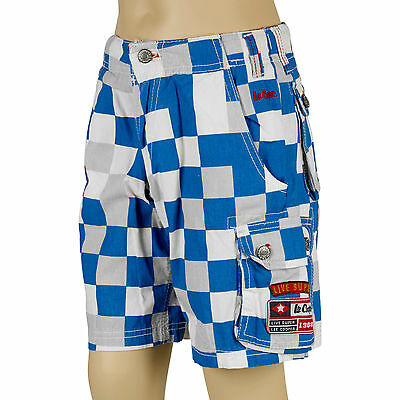 Boys Lee Cooper Cargo Shorts Jeans Vintage Style Blue & White Kid Casual Apparel