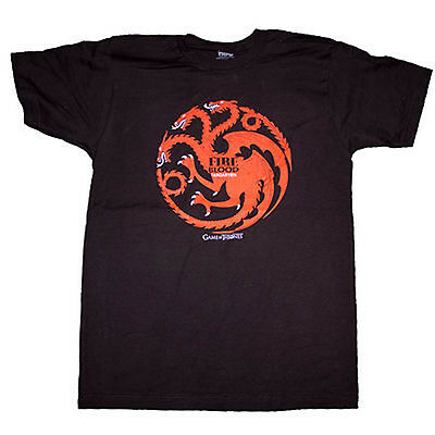 Game of Thrones Targaryen House Fire & Blood Dragon Sigil Male Black Tee T-Shirt