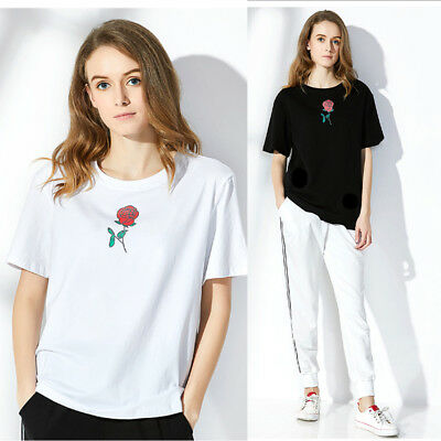 Women Embroidery Blouse Short Sleeve O-Neck Loose T-Shirt Casual Cotton Tops 3XL