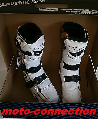 Reduced Fly Maverick Youth White Motocross Quad Boots Uk Size 3