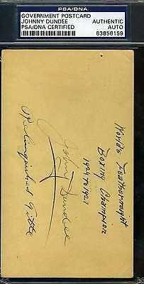 Johnny Dundee Psa/dna 1929 Gpc Government Postcard Signed Authentic Autograph