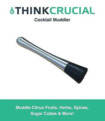 """8"""" Drink Cocktail Muddler, Stainless Steel & Grooved Nylon Head"""