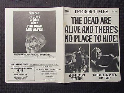 1972 THE DEAD ARE ALIVE 4pg Fold-Out Promo VG/FN 5.0 Samantha Eggar